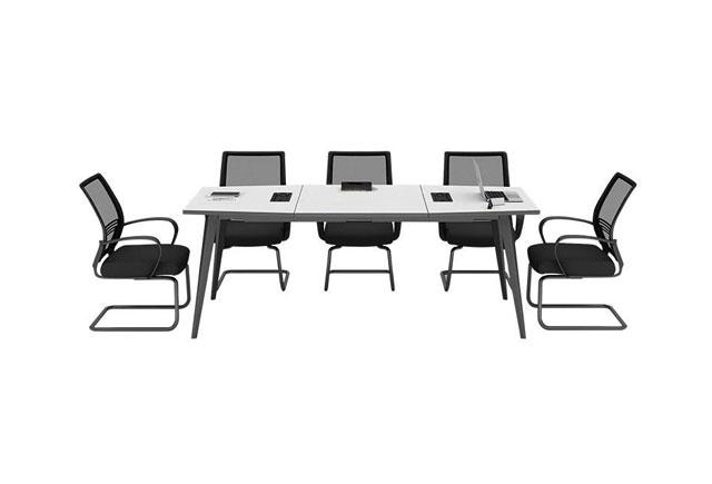 现代简约会议桌 8人钢木结构会议桌