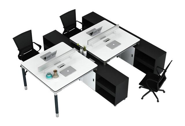 桌柜一体式办公桌-4人位桌柜一体