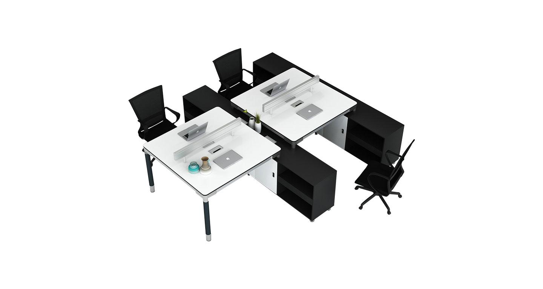 桌柜一体式办公桌-4人位桌柜一体式办公桌 -桌柜一体式办公桌样式