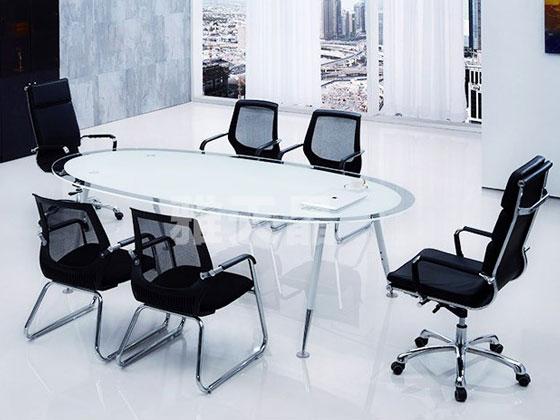 椭圆形钢化玻璃桌样式