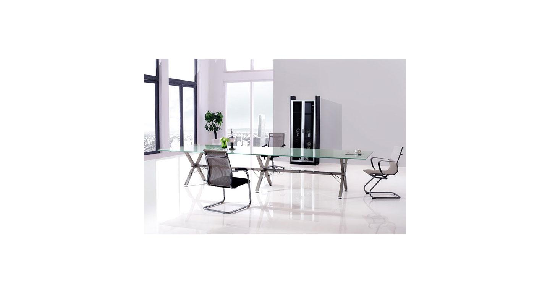 玻璃会议桌定做 时尚玻璃会议桌 6人位会议桌 6人时尚玻璃会议桌