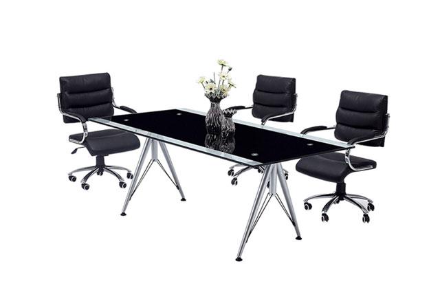 简约时尚钢化玻璃办公桌 会议桌 玻璃桌会议 玻璃会议桌