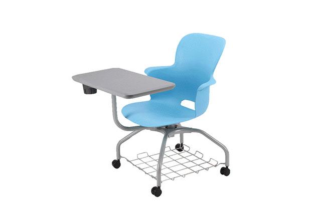 带滑轮办公椅 写字板培训椅