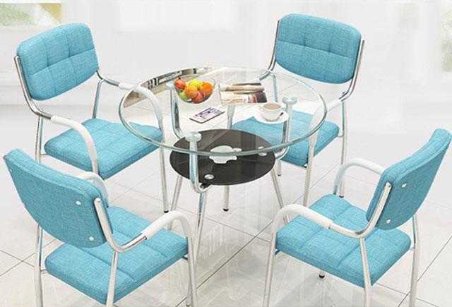 玻璃洽谈桌—圆形玻璃洽谈桌