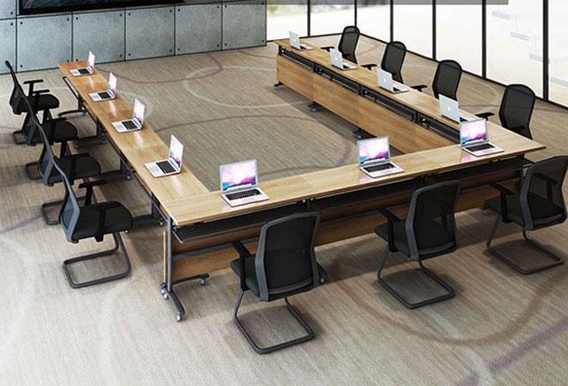 实木油漆会议桌 斑马纹回形多媒
