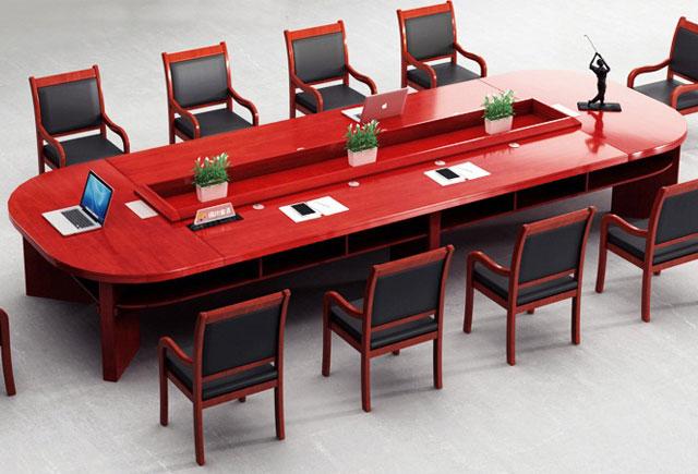 简约亚博娱乐办公会议桌 实木油漆会