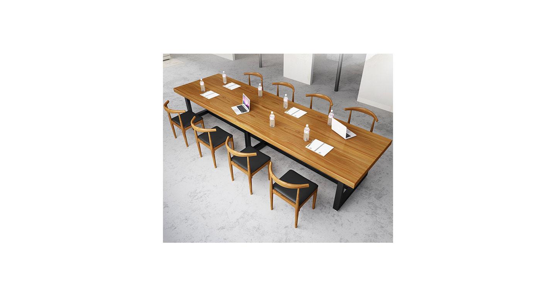 loft办公桌 大型会议室桌椅 现代长方形洽谈桌子 员工休息室会议桌