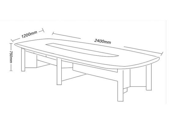 8人位简约会议桌尺寸图