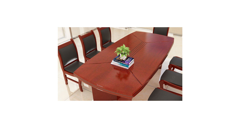 棕色实木会议桌 8人位简约会议桌
