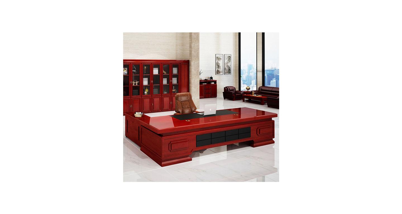 实木贴皮老板桌 油漆烤漆大班台 实木老板办公桌椅