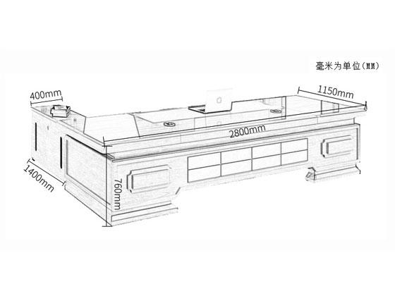 实木贴皮老板桌尺寸图