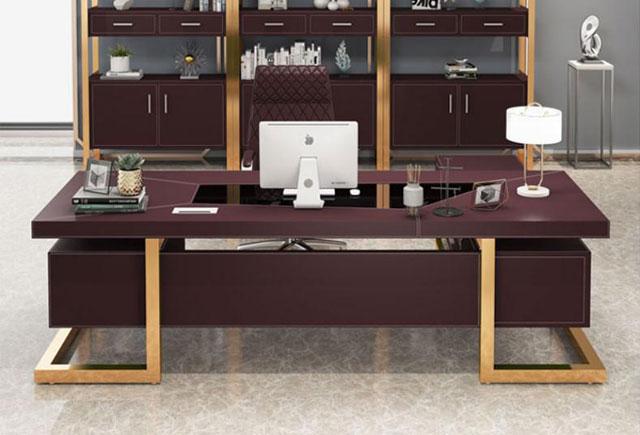 实木贴皮大班台 高档大班桌办公桌