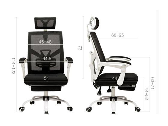 黑色网布椅尺寸图