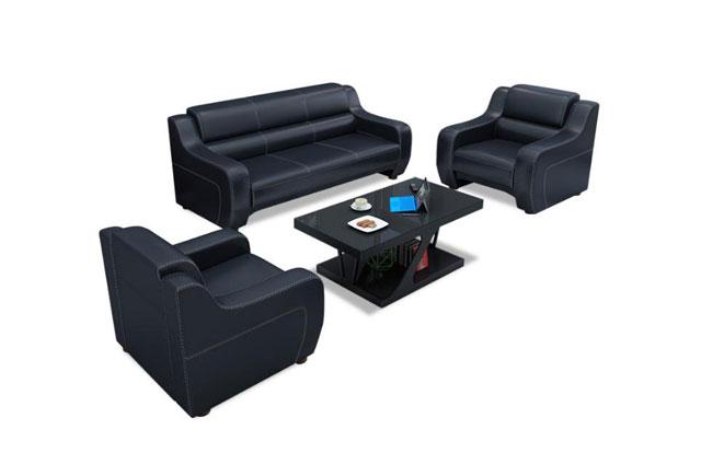 黑色皮革沙发 现代商务真皮沙发