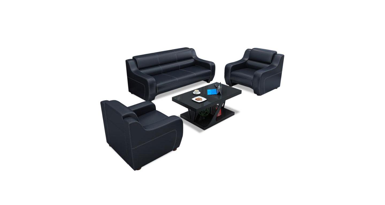黑色皮革沙发 现代商务真皮沙发 黑色真皮接待沙发