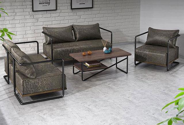 现代简约办公沙发 黑色沙发茶几 商务洽谈接待区沙发  FPSF012