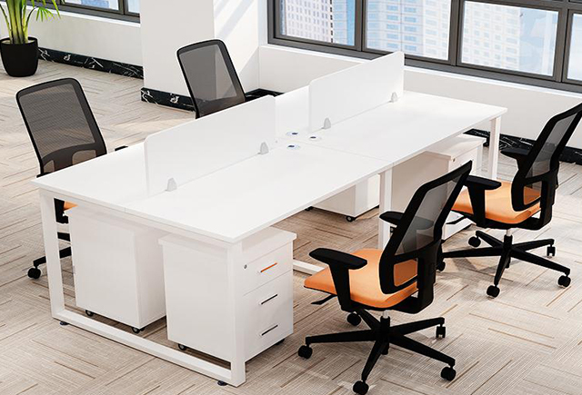 四人员工桌屏风-员工桌屏风定制-员工桌屏风4人位样式