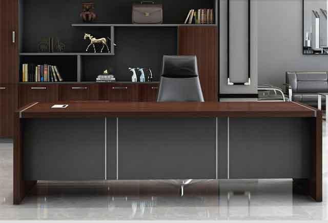现代总裁办公桌 简约贴皮油漆大班台