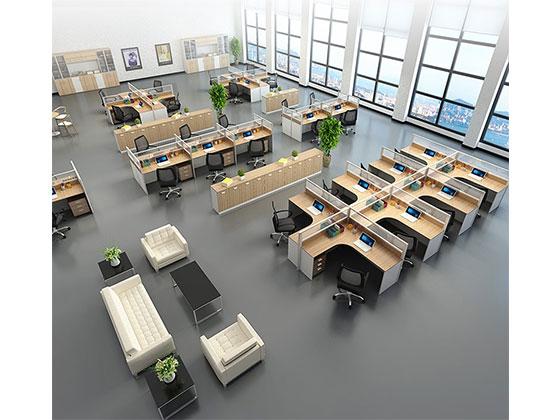 四人办公位-隔断办公桌-品源办公桌