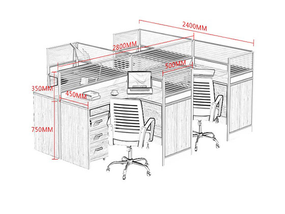 6人办公隔断尺寸-屏风办公桌-品源办公桌