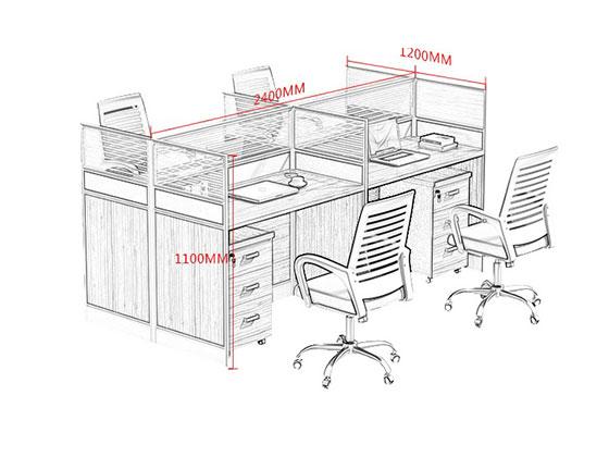 6人位屏风办公桌尺寸-屏风办公桌-品源办公桌