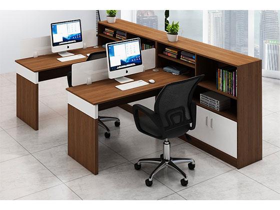 屏风带层板工作位-屏风办公桌-品源办公桌