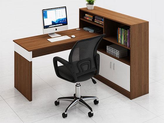 屏风带层板工作位-隔断办公桌-品源办公桌