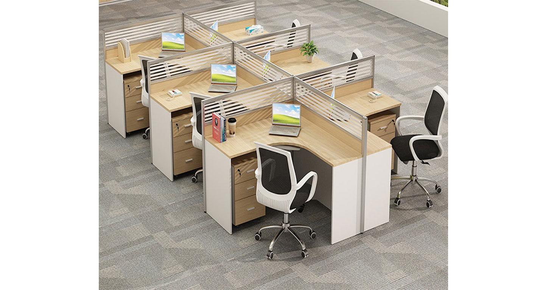 6人连体办公桌-屏风式办公桌-品源办公桌