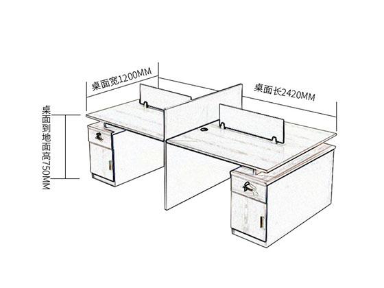 十字形办公桌尺寸-屏风办公桌-品源办公桌