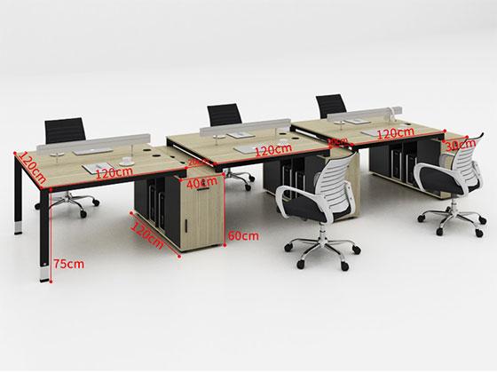 员工位带侧柜尺寸-屏风办公桌-品源办公桌