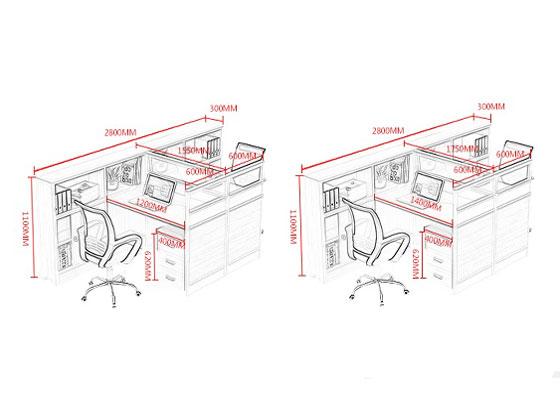四人位f型卡位办公桌尺寸-屏风办公桌-品源办公桌