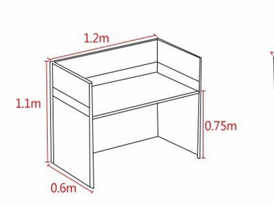 单人位隔音板屏风工位尺寸-屏风办公桌-品源办公桌
