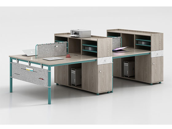 4人屏风工作位-隔断式办公桌-品源办公桌