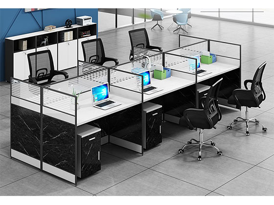 转角四人位办公桌屏风式办公桌-品源办公桌