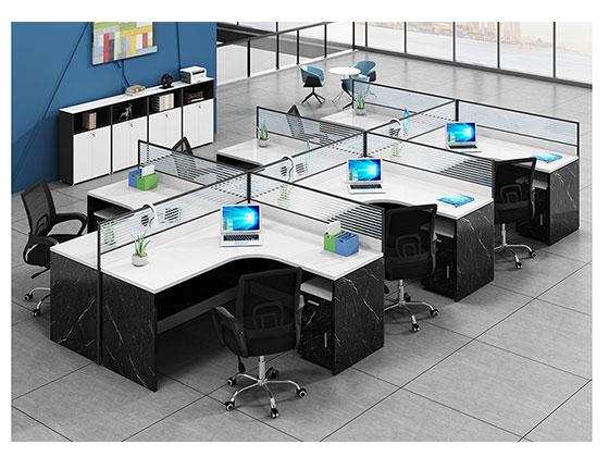 转角四人位办公桌-隔断办公桌-品源办公桌