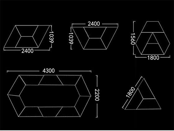 回型会议桌拼接尺寸-会议桌-品源会议桌