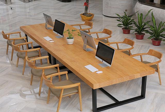实木拼接会议桌_10人贴皮会议桌