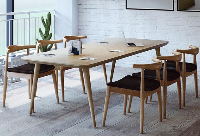 实木贴皮会议桌-北欧简约书桌-实木会议桌
