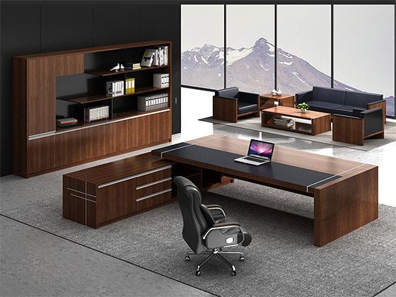 实木总裁办公桌屏风办公桌-品源办公桌