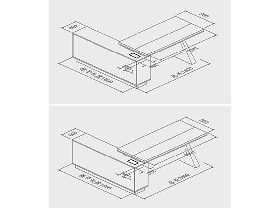 高档老板台办公桌尺寸-班台-品源班台
