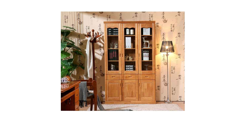 中式老板桌后面的书柜-办公室文件柜-品源文件柜