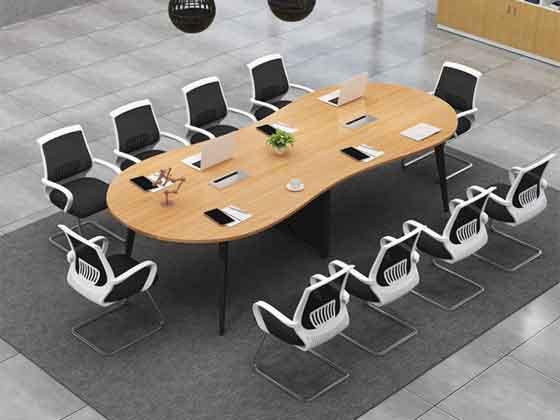 现代实木钢架会议桌-会议桌定制-品源会议桌