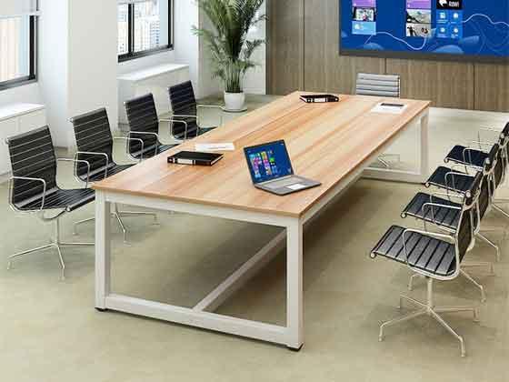 白色烤漆视频会议桌-办公室会议桌-品源办公室会议桌