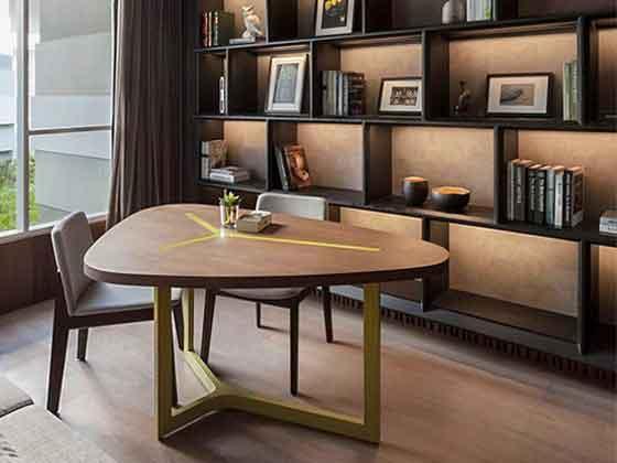实木椭圆形会议桌-会议桌尺寸-品源会议桌