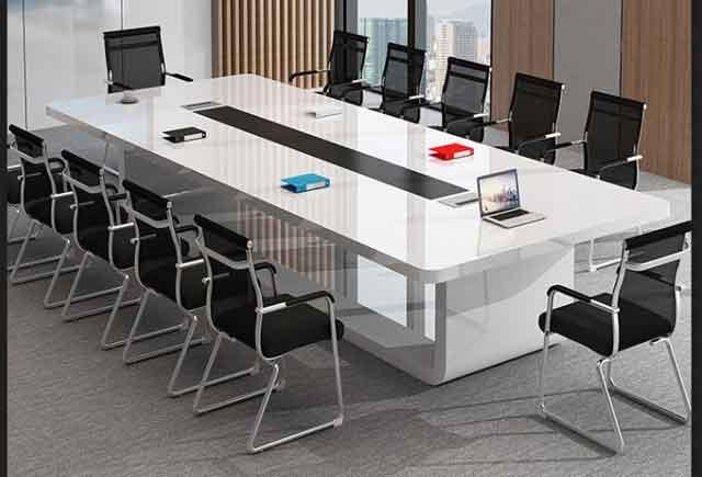 长方形型油漆会议桌_长方形实木会议桌