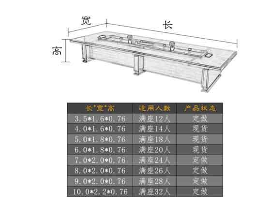政府会议室会议桌尺寸-会议桌-品源会议桌