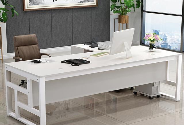 钢木老板桌_钢制腿大班台_钢架结构经理办公桌