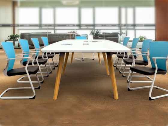 实木贴皮会议桌-办公室会议桌-品源办公室会议桌