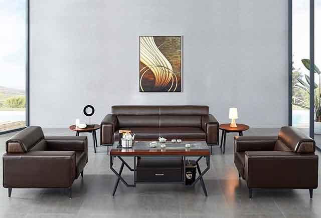 董事长办公室沙发 黑色真皮办公室沙发 商务沙发茶几 WSF020