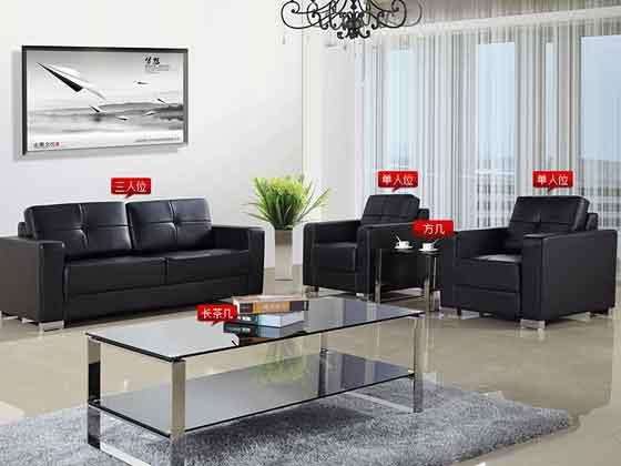 黑色真皮办公室沙发-沙发厂家-品源办公沙发